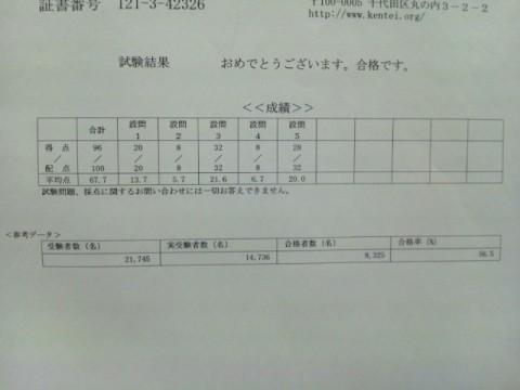 日商簿記検定3級 成績
