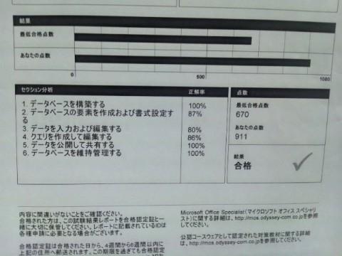 MOS Access 結果レポート