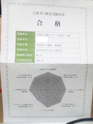 日商PC検定 データ活用 3級 試験結果