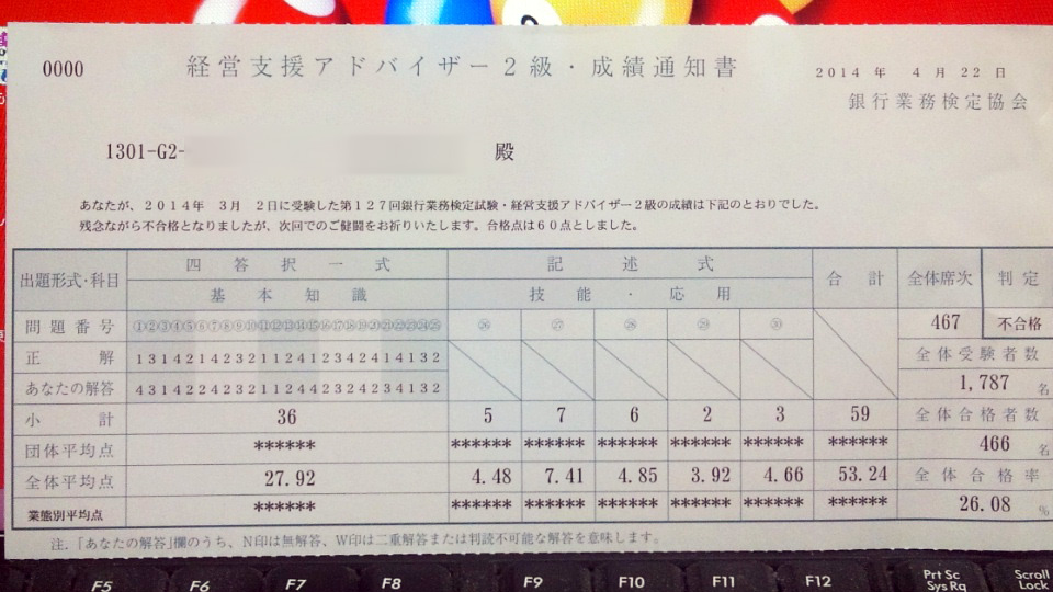 銀行業務検定経営支援アドバイザー2級 マジかよ(泣)
