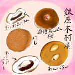 銀座鳩居堂と木村屋總本店のあんパンと。