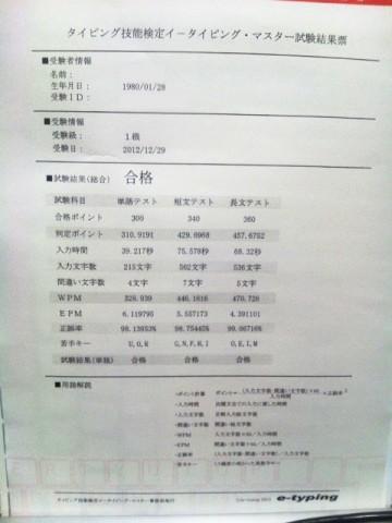 イータイピング・マスター1級 試験結果票