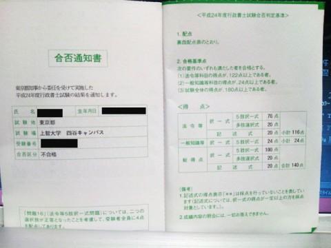2012年度行政書士の合否通知書