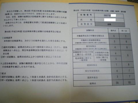 社会保険労務士 試験結果