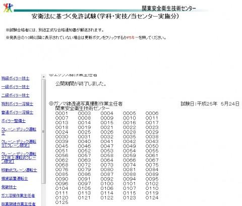 ガンマ線透過写真撮影作業主任者 合格発表(20130524受験分)